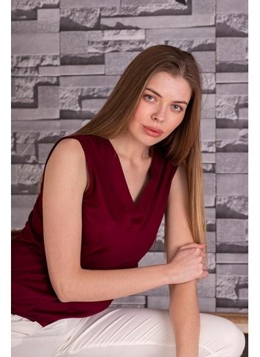 Stamina  Bayan V Yaka Kolsuz Bluz-5VS05 Mürdüm